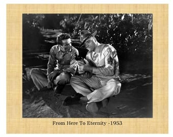 "From Here To Eternity 1953 Burt Lancaster Montgomery Clift Frank Sinatra 8""x10"" Glossy Photo with Faux Matte Border in Print"