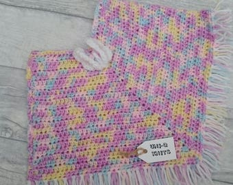 Crochet poncho hand made baby girl new born pastel colours butterfly embellishment fringed girls clothing