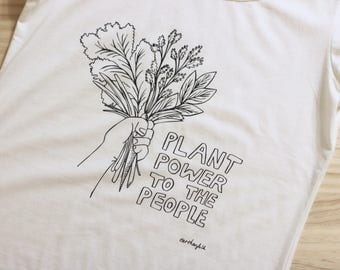 Plant Power To The People T Shirt by Earthenfolk - Vegan Ethical Fair-trade