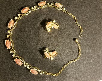 Vintage Pink and Gold earring and necklace set