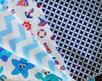 Sea fabric,nautical fabric,ocean fabric,crabs print,beach fabric,summer fabric,chevron print,anchors fabric,cotton fabric,fabric by the yard