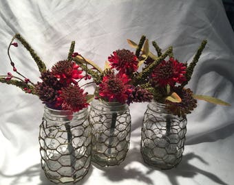 Table decorations, wedding graduation set 3 wired flower jars