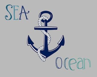 Nautical Sea and Ocean Anchor Wall Art Digital Print Printable Grey