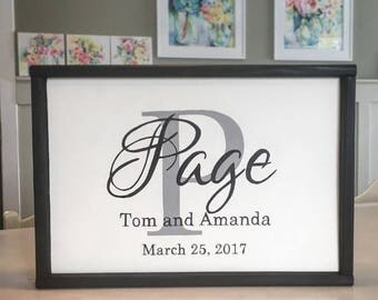 Family Monogram Sign  | Family Name Sign | Wedding Gift Sign | Shower Gift Sign| Established Date Sign | Houswarming Gift | Wall Art