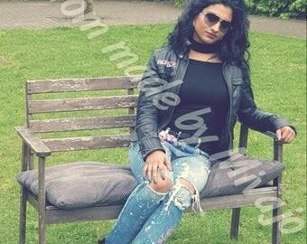 jeans zara size m hangeschilderd with cherry blossom
