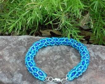 Blue & Purple Woven Beaded bracelet