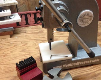 1/2 Ton Modified Press for Jewelry Makers and Metal Stamping. 4 in x 4 in Magnetized HDP Press Block. Free starter 1/8in letter & number set