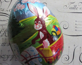 Paper Mache Egg Uncommon Vintage Western German Foil Wrapped Easter Bunny Easter Egg Box 4-1/4 Inch Germany