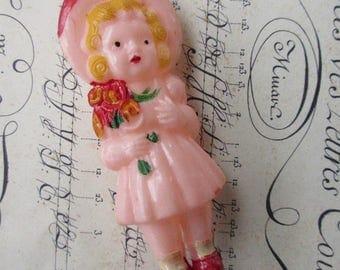 Vintage 1940s Hard Plastic Baby Rattle Little Girl Vintage Rattle