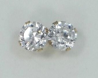 10k Gold 1.40 Carat Faux Diamond Stud Earrings