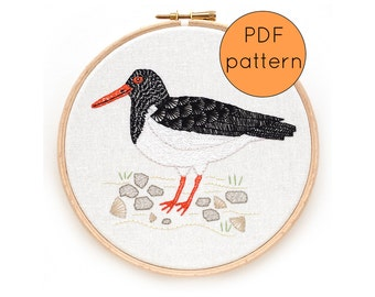 Oystercatcher Bird Embroidery Pattern, PDF Instant Download Embroidery Pattern, Sea Bird