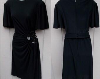 70s to 80s Vintage RIMINI Black Drape Jersey Disco Dress / Wrap Bodice with Sequins - Party Dress // Sz Med