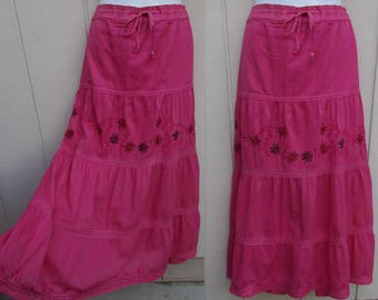 Pink Embroidered Bohemian Gypsy Maxi Skirt // 90s Vintage broomstick tier skirt by Raja - Made in India / S M L XL