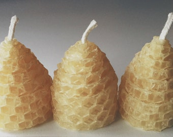 Set of Three Rolled Beeswax Hive Votives