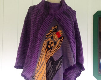 One size Large poncho cape with yorkie, purple and black cotton knit poncho , yorkshire terrier art to wear, hippy chic boho style cape