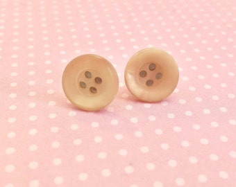 Button Earrings, Beige Earrings, Vintage Button Stud Earrings in Luscious Sugar Cream Pie, Affordable Jewelry, Surgical Steel Studs