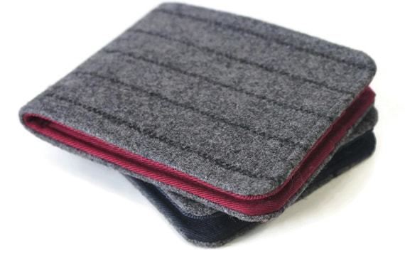 Mens Wallet in Grey Stripe Wool with Large Billfold and 4 Pockets