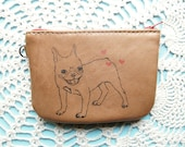 French Bulldog Leather Small zip Wallet