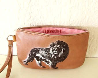 Lion Wristlet Recycled Leather clutch