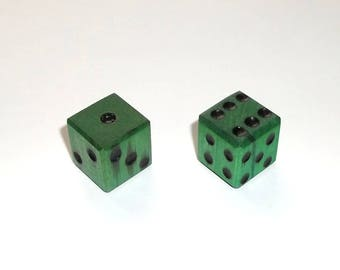 Wooden Dice - Imperfect Green Pair #2