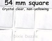 50 Epoxy stickers, hard to find 54mm square size for compacts and mirrors, extra large resin seal, large epoxy easy peel cabochon,diy mirror