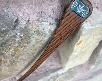 Cannabis Burst Hairstick - Bocote wood and Sterling silver inlay