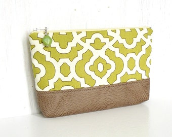 Fabric Zipper Pouch, Cosmetic Case, Zippered Makeup Bag - Garden Gate in Tan, Cream and Chartreuse