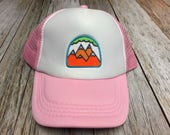 Girls Toddler/Kid Pink Trucker Hat with 5 Mountain Patch-12 Months to 7 Years