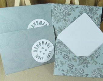 4 Mini A7 Handmade With Love motif envelopes in pale slate grey with roses. Thank you, birthday cash, gift giving, invitation