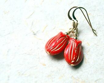 Red Tulip Earrings - Tulip Earrings - Flower Earrings - Vintage Red Glass Flower Earrings - Floral Jewelry - Botanical Jewelry