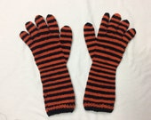 Long orange and black striped gloves CUSTOM ORDER for bigshow02747