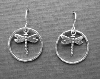 Sterling silver earrings .925 dragonfly charm in Argentium Sterling Silver hoops  dangle drop sterling silver ear wires lightweight