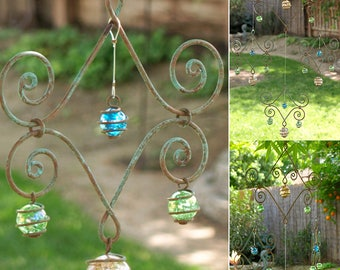 Solid Copper Peach Green Blue Crakled Glass Mobile Suncatcher Handcrafted