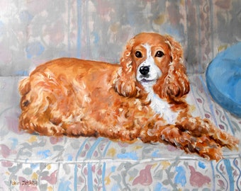 """Cocker Spaniel Oil Painting Portrait of your dog, or any pet, 11"""" x 14"""" size"""