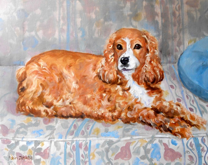 "Cocker Spaniel Oil Painting Portrait of your dog, or any pet, 11"" x 14"" size"