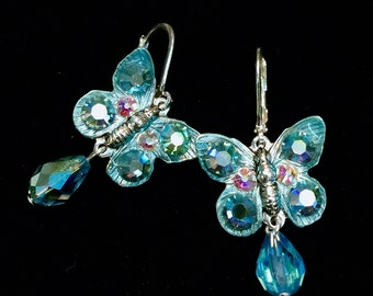 Butterfly Earrings with  Sparkling Aquamarine Crystals
