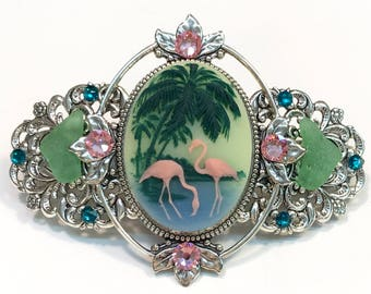 Cameo Hair Barrette Flamingo and Palm Trees  with Beach Glass and Crystal Accents