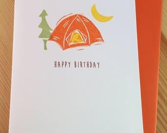 Tent Birthday Card - Birthday Camping Card - Happy Birthday Camping Card - Camper Birthday Card - Hand Printed Birthday Card