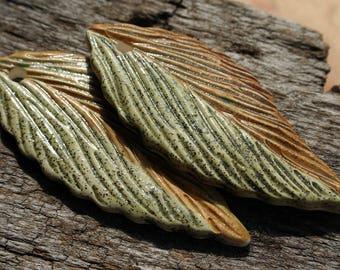 Handmade Stoneware Leaf Set