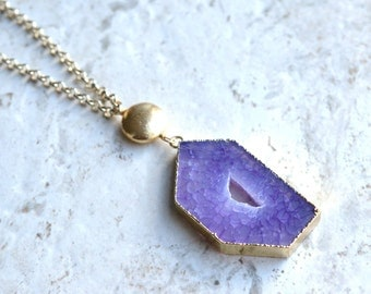 The Terry- Purple Agate Pendant Gold Chain Necklace