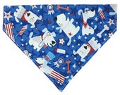 Dog Bandana, Collar Accessory, 4th of July Dog, Independence Day Dog, Patriotic Dog, Over the Collar, Red White and Blue Dogs
