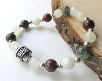 African Bloodstone Beaded Bracelet, New Jade and Sterling Silver, Stretch Bracelet, Smooth Round Gemstone Beads, Stackable, Unisex