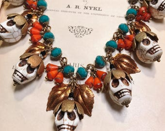 Dia de los Muertos Skull Bauble Flower Vintage Inspired Statement Necklace with Orange and Turquoise Glass Beads Day of The Dead