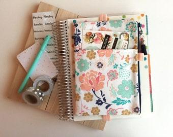 Floral Pocket Planner Bag, Planner Band, Planner Pouch, pencil pouch, pen pouch, floral bag, floral planner cover, planner accessories