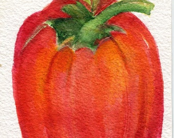 Red Bell Pepper watercolor painting original  4 x 6, Vegetable original ART,  kitchen decor, culinary art, SharonFosterArt Farmhouse decor