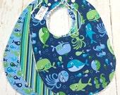 Baby Boy Chenille Bibs - Triple Layer Super Absorbent - Baby Bibs, Toddler Bibs, Sealife, Whales - UNDER THE SEA