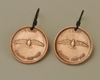 Canada Coin Jewelry Earrings  1967 Commemorative 100th Anniversary