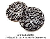 Black Filigree Pendant or Earring Charms, 23mm Round, Goth, Boho, Curved Ornament, One Pair