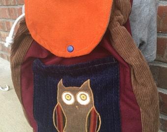 BIG KID Sized Backpack -- Owl