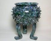 Ceramic Plant Pot, Ceramic Planter, Succulent Planter - Grouchy Pot -   Planter Pot with Sculpted Feet and Spikes